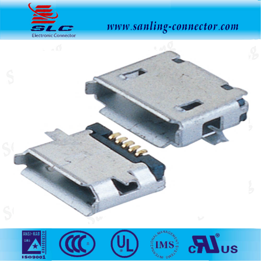 micro usb SMT 5pin B female type connector