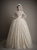 WEA102 Classic Vintage High Neck 3/4 Long Sleeve Lace With Beads Taffeta Tulle Ball Gown Lace Wedding Dresses 2015