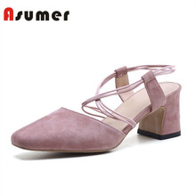 Asumer 2018 summer girls latest cross-strap high heel sandals