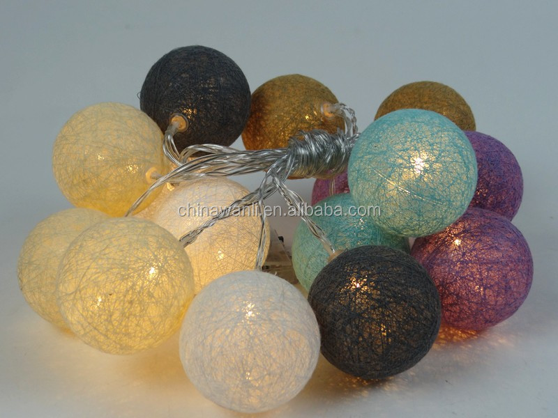 cotton ball string home /holiday /christmas decoration led light