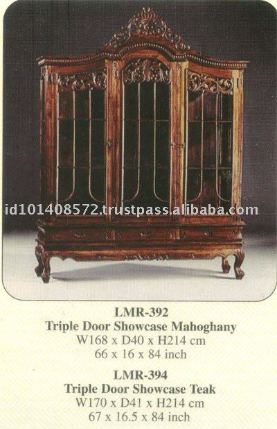 Triple Door Showcase Mahogany Indoor Furniture.