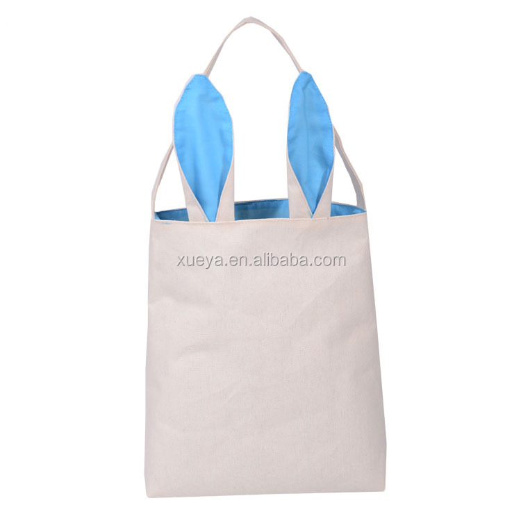 Wholesale shopping bag cute Easter rabbit ear shaped canvas hand bag
