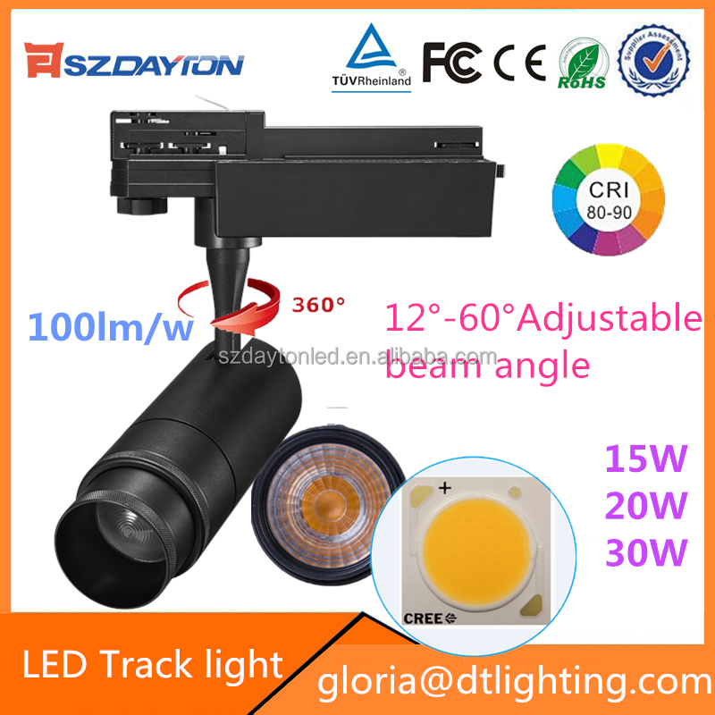 NEW screw zoomable 2/3/4 wires Track LED focus light 15w 20w 30w adjustable COB led lighting track for Clothing Store
