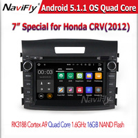 1024*600 Screen Car DVD Player for honda CRV 2012 with BT Wifi GPS Support 3G wifi DVR OBD Android 5.1.1 Quad Core