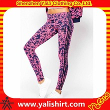 New model sportswear dry fit skinny elastic waist full sublimation cotton/spandex compression leggings with 3 stripes