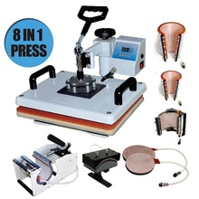 8 In 1 Combo Heat Press Machine Cup Magic Mug T-Shirt Printing Machine 8 1 Sublimation Machine Price