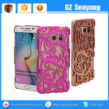 Electroplate Hollow Out Rose Gold Flower Case for Galaxy S6 Edge