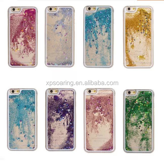New designed Stars hard case for iphone 5 iphone 4S, for iphone 5S 6 6 Plus moving liquid case cover
