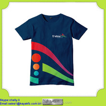 HD rubber printed high quality sponsor blue t-shirt