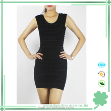 black sleeveless women dress party O neck bandage dress