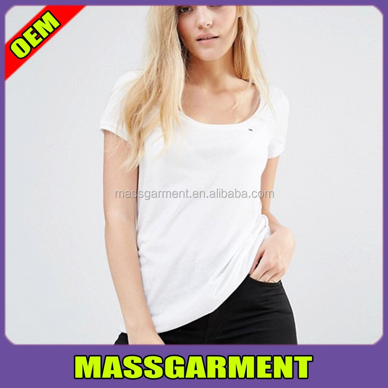 2017 New Embroidered 100%Cotton Custom Promotional Athletic Women T Shirt