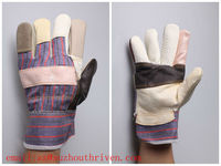 Rainbow color furniture working safety glove ,stripe cotton back and starched cuff,half lining gloves