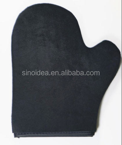 Black velour tanning mitt with thumb,mousse applicator mitt