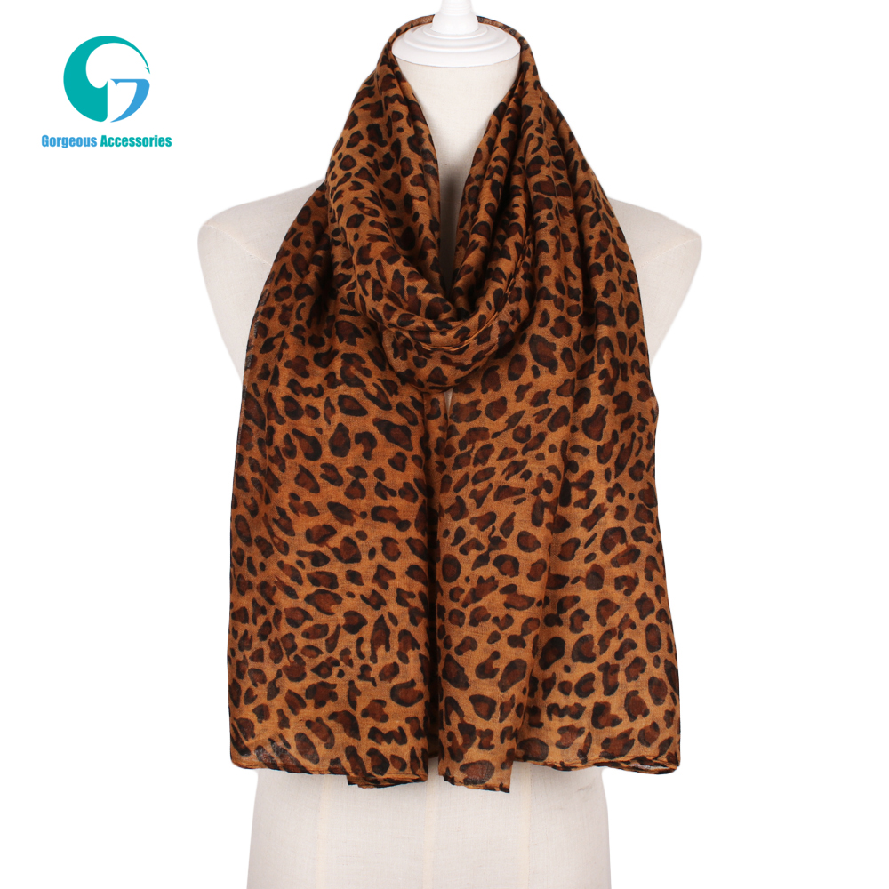 Fashionable Wild Women <strong>Cotton</strong> Voile Wholesale Leopard Print Scarf