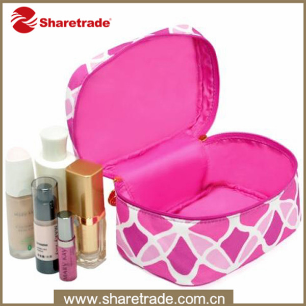 Promotional OEM cosmetic bag polyester pink makeup case