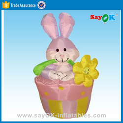 2016 easter outdoor decoration basket inflatable bunny egg indoor