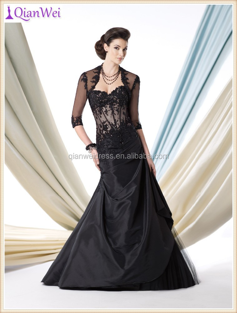 2015 latest hot sale black taffeta and tulle mermaid trumpet embroidered lace mother of the bride dresses with jacket