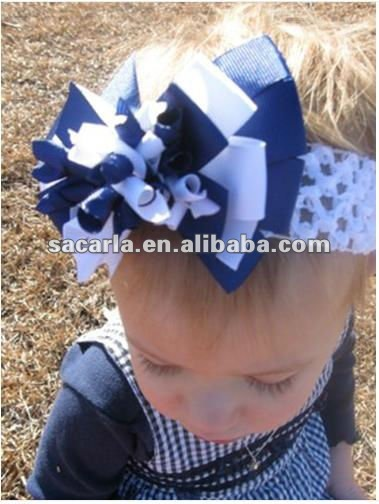 "Navy and White infant girl 4"" korker hair bow on crochet headband"