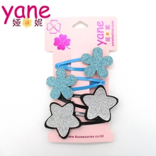 Star hair clips glitter flower for baby girl hair snap clips