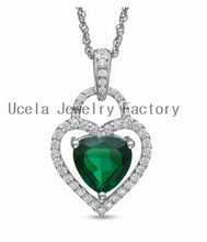 Emerald and White Sapphire Double Heart Pendant 925 Sterling Silver gemstone jewelry auctions