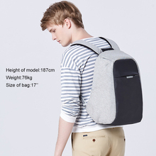 "Multi functional reflective hidden compartment anti-theft 17"" laptop backpack for men"