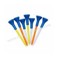 New design 2 layer golf plastic tee with rubber top