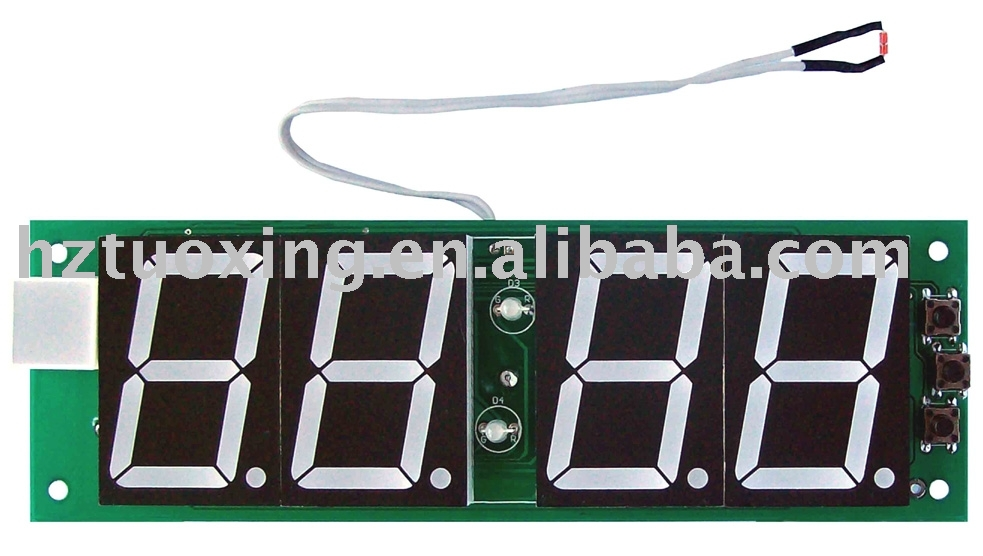 4 digit 1.5 inch small LED clock circuit module with temperature display