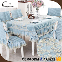 Middle east blue color square table cloth lace fabric chair covers for wedding