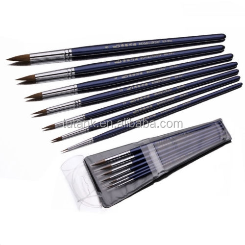 7PCS Round head weasel hair artist paint brush set for oil/acrylic/watercolor