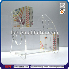TSD-A108 new shape two tier clear acrylic book display stands/comic book display rack/acrylic bookcase