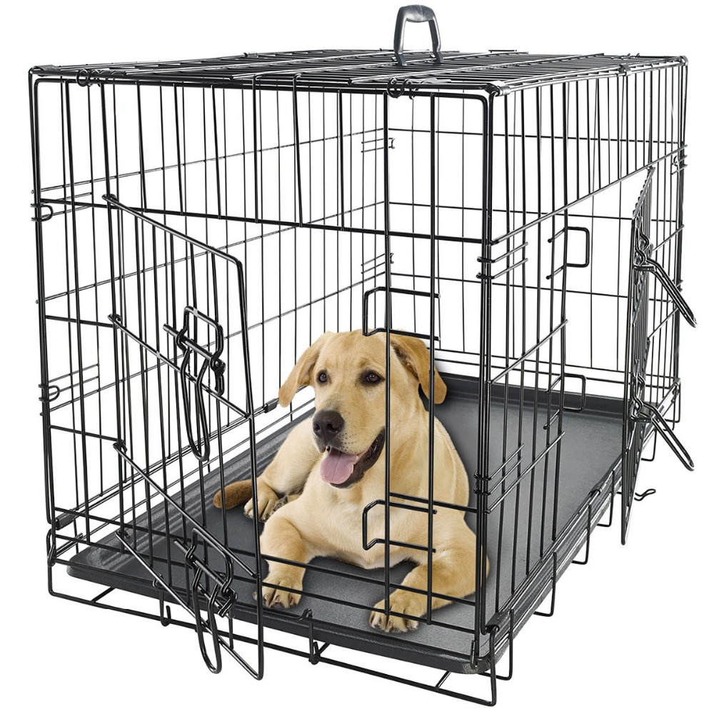 trade assurance Double Door metal galvanized Dog Cages with metal tray