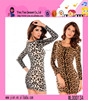 Wholesale New Fashion Sexy Short Dress High Quality Round Collar Elegant Ladies Leopard Dress