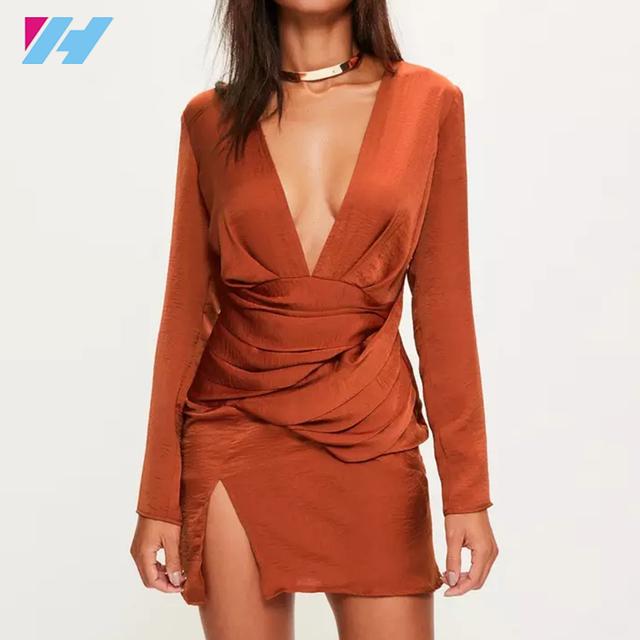 Womens orange silky long sleeve panelled dress