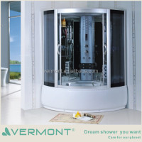Fittings tempered glass sliding doors shower room with massage steam