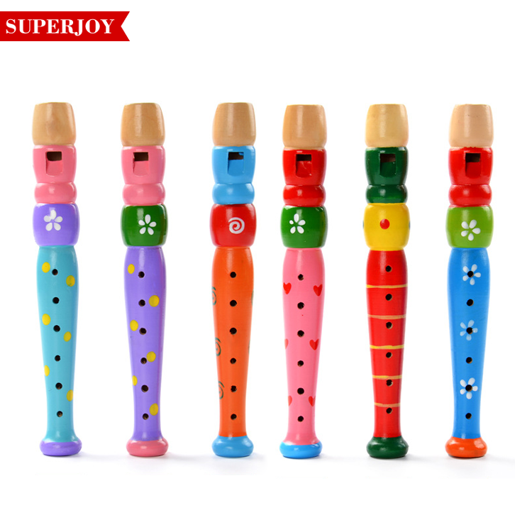 Colorful Fun Baby Kids Wooden Flute Whistle Musical Education Toys Portable Developmental Instrument SJ5212