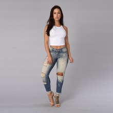 Wholesale price ripped for women skinny damaged jeans