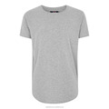 Custom new brand for men longline t shirt grey cotton with short sleeve curved hem t shirt men