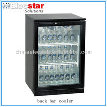 black or silver or stainless steel body, under counter single glass door bottle cooler