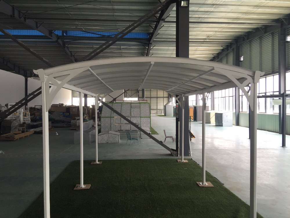 With arched roof and solid polycarbonate, strong aluminium frame carport