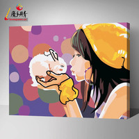 Girl and rabbit diy painting by number for home decoration