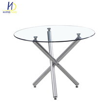 New Design Modern Round Shape Tempered Glass Top Dining Table