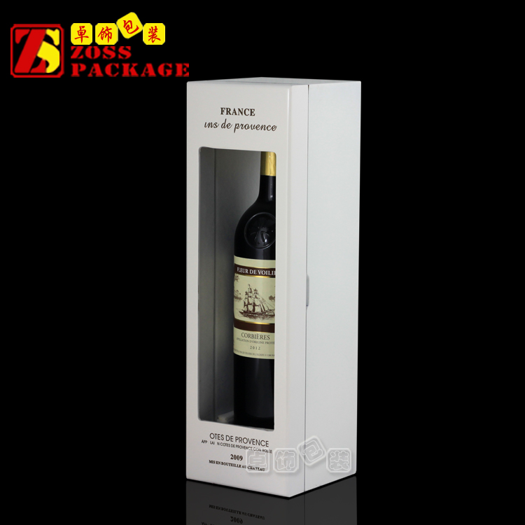 Single pure white colour glass window wooden wine box