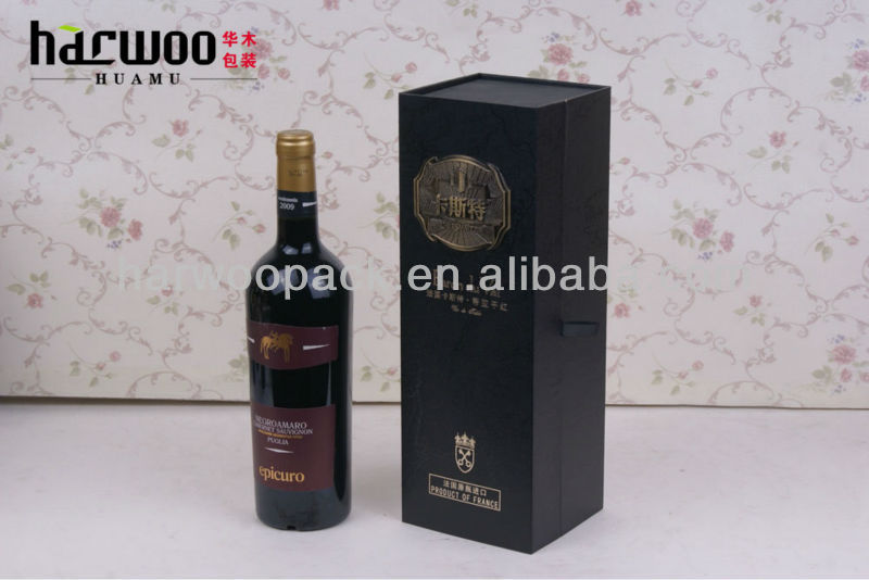 High-end Custom Paper Wine Carrier Foldable with Magnet Closure