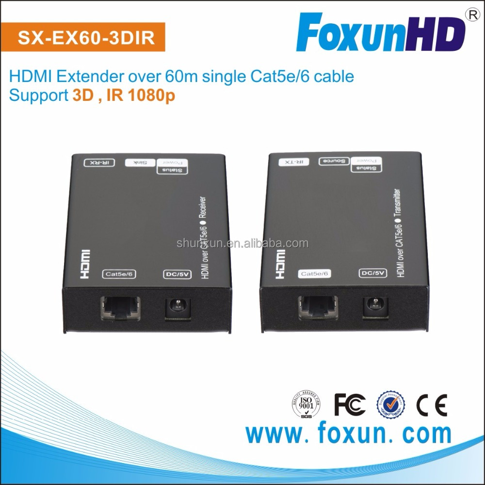 1080p full hd Receiver 60m extender over single Cat6/Cat.5e cable RJ45 HDMI Extender