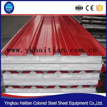 The factory price of high quality 75 mm color steel EPS composite metal sandwich roof panel