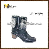 Minyo Winter Ankle Boot for Woman with Fur and zipper thick heel