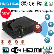 2016 New arrival 800*480 1200lumens 1080p support mini UNIC UC46 WIFI projector WIFI pico projector WIFI pocket projector
