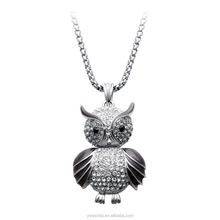 yiwu new products owl necklace full diamond black metal necklace set
