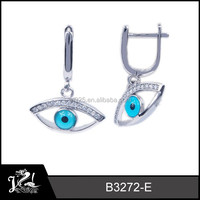 white gold platted jewelry silver turkey blue eye jewelry earring stud evil eye jewelry