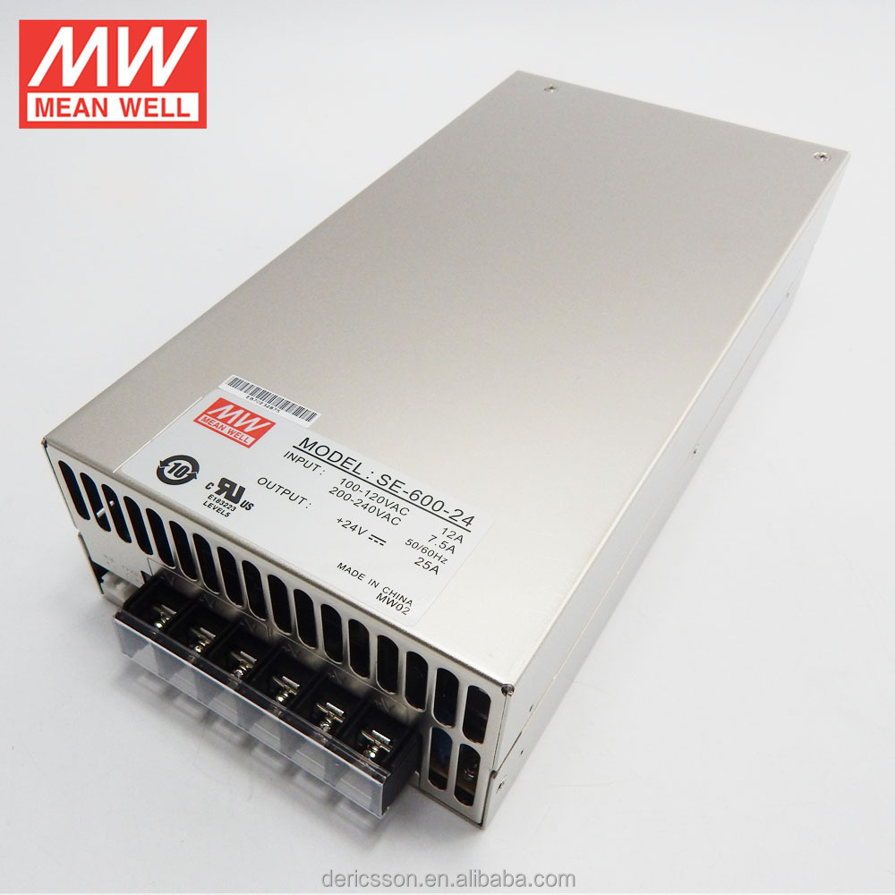 MW 600W 24V 25A Power Supply UL/cUL SE-600-24
